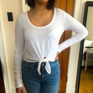Ladies' White Crop Top Long Sleeve